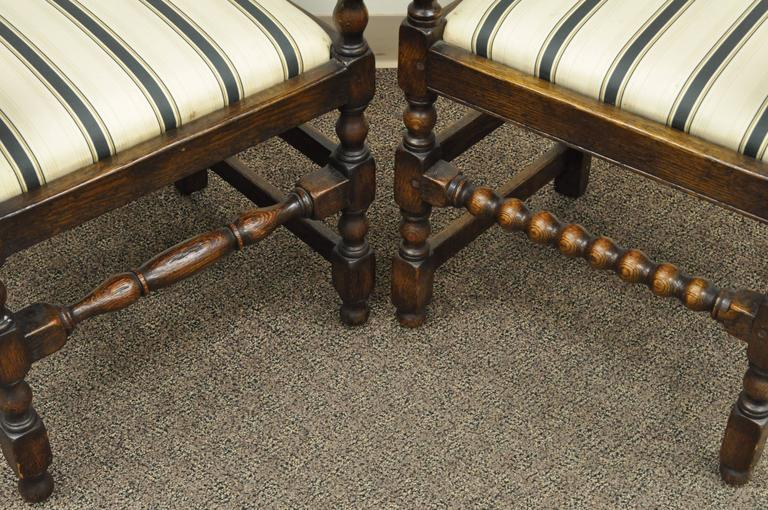 Set of Eight Solid Carved Oak 1930s Jacobean or Gothic Style Dining Room Chairs For Sale 4