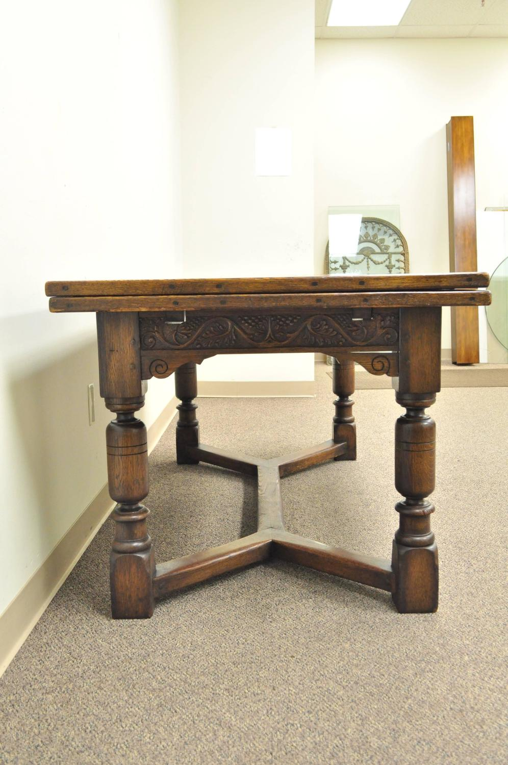 1930s Solid Carved Oak Jacobean Style Refectory Extension Plank Dining Table
