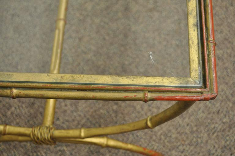 Vintage 1940s Italian Gold Gilt Iron Hollywood Regency Faux Bamboo Coffee Table For Sale 2