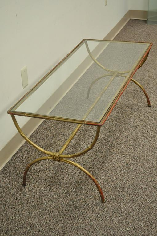 Vintage 1940s Italian Gold Gilt Iron Hollywood Regency Faux Bamboo Coffee Table For Sale 4