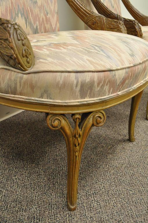 American Pair 1940s Hollywood Regency Carved Parlor Chairs Attributed to Grosfeld House For Sale