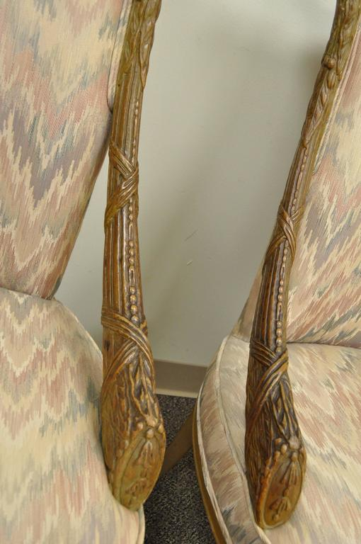Pair 1940s Hollywood Regency Carved Parlor Chairs Attributed to Grosfeld House In Good Condition For Sale In Philadelphia, PA