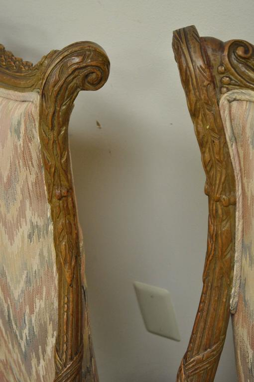 Pair 1940s Hollywood Regency Carved Parlor Chairs Attributed to Grosfeld House For Sale 2