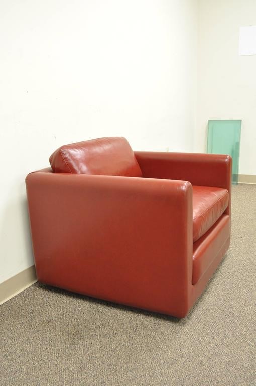 Red Leather Cube Club Or Lounge Chair After Harvey Probber