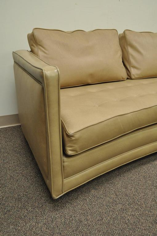 Long Curved Harvey Probber Button Tufted Leather Mid