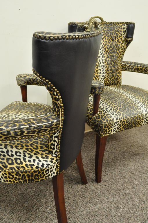 Pair of Dorothy Draper Hollywood Regency Leopard Printed Vinyl Curved Armchairs For Sale 2