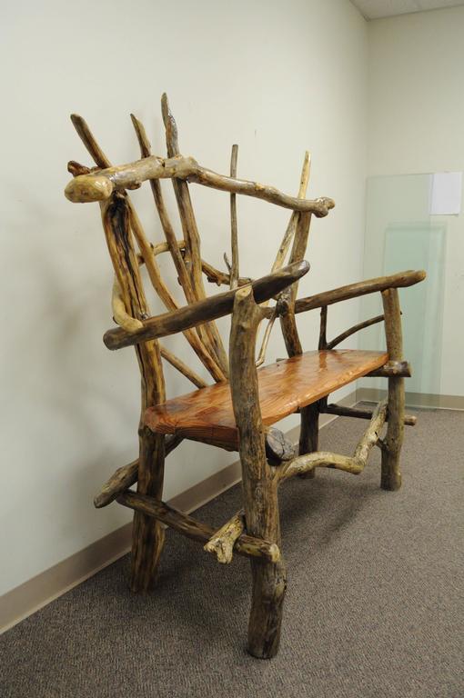 Reclaimed Wood Rustic Primitive Artisan Tree Log Driftwood Garden Patio Bench by Robert Powchik For Sale