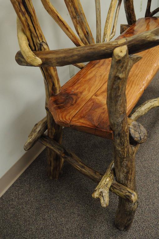 Rustic Primitive Artisan Tree Log Driftwood Garden Patio Bench by Robert Powchik For Sale 1