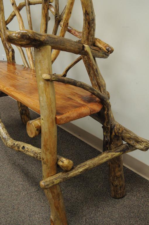 Rustic Primitive Artisan Tree Log Driftwood Garden Patio Bench by Robert Powchik For Sale 2