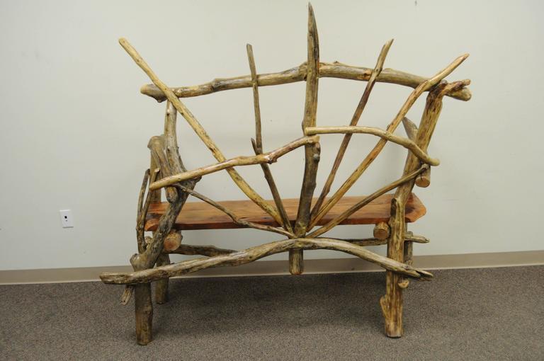 Rustic Primitive Artisan Tree Log Driftwood Garden Patio Bench by Robert Powchik For Sale 3
