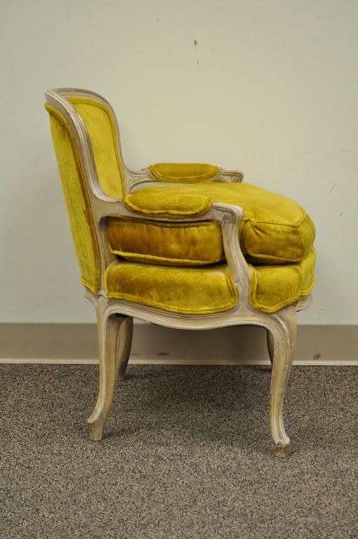 Carved Unique 1950s Small French Boudoir Louis XV Style Childu0027s Bergere  Armchair For Sale
