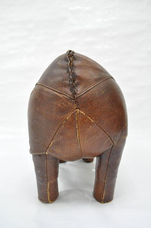 1970s Sarreid Distressed Leather Rhinoceros Footstool after Abercrombie & Fitch For Sale 3
