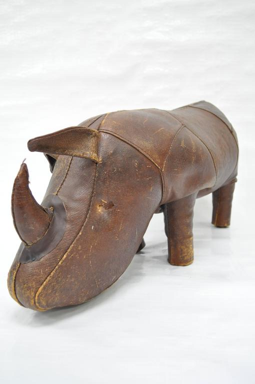 1970s Sarreid Distressed Leather Rhinoceros Footstool after Abercrombie & Fitch In Distressed Condition For Sale In Philadelphia, PA