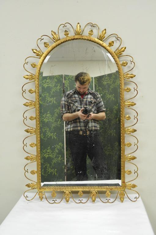 Hollywood Regency Gold Gilt Iron Mirror And Wall Mount