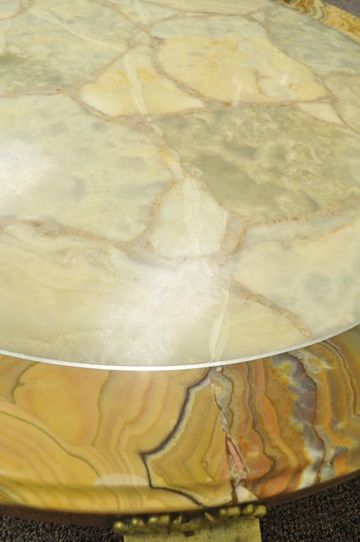 Mid-20th Century Brass and Onyx Round Coffee Table by Muller's of Mexico Attr. to Arturo Pani For Sale