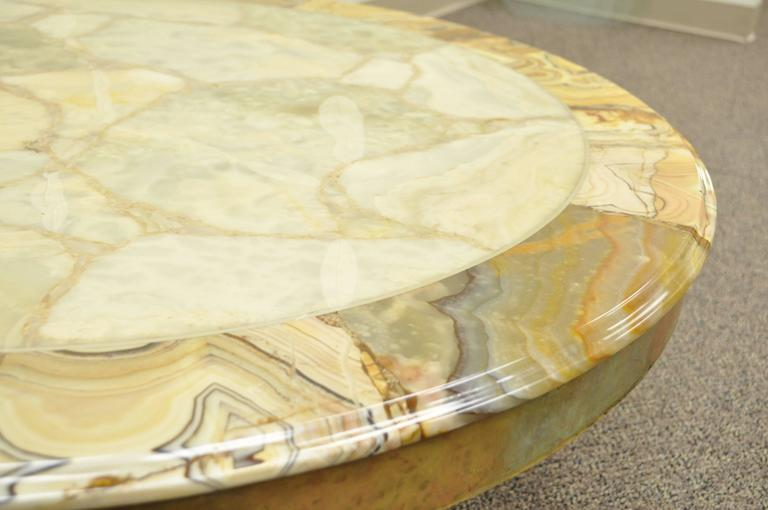 Brass and Onyx Round Coffee Table by Muller's of Mexico Attr. to Arturo Pani For Sale 2