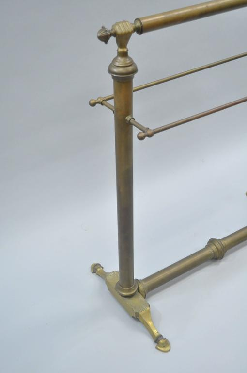 Late 19th Century Clasped Hands Victorian Andre Arbus Style Brass Quilt Towel Rack Stand Holder