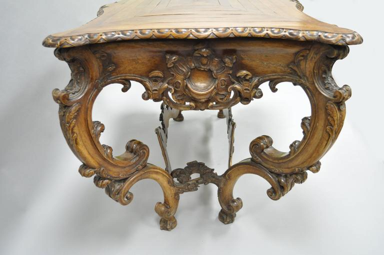 19th Century Italian Baroque Walnut Center Table in the French Louis XV Taste For Sale 4