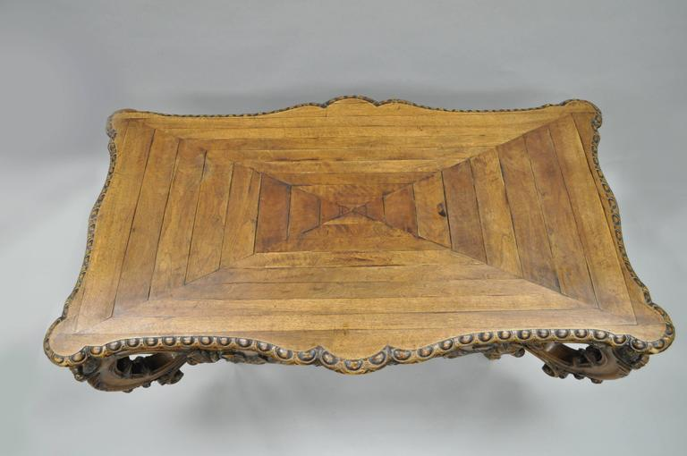 19th Century Italian Baroque Walnut Center Table in the French Louis XV Taste For Sale 1