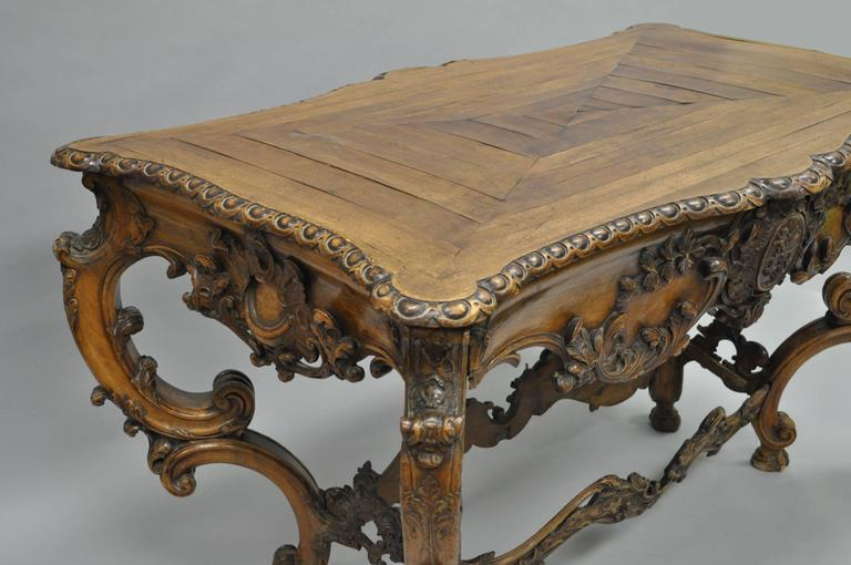 Carved 19th Century Italian Baroque Walnut Center Table in the French Louis XV Taste For Sale