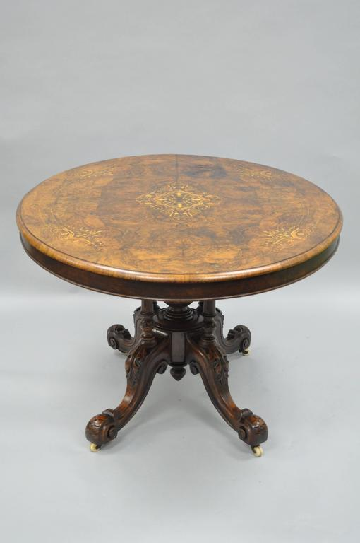 19th Century Victorian Carved Burl Walnut Tilt-Top Marquetry Inlaid Center Table For Sale 5