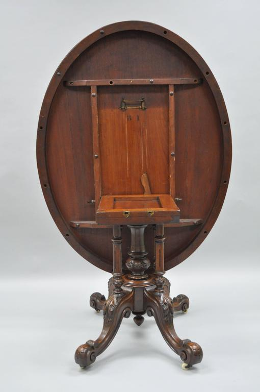 19th Century Victorian Carved Burl Walnut Tilt-Top Marquetry Inlaid Center Table For Sale 3