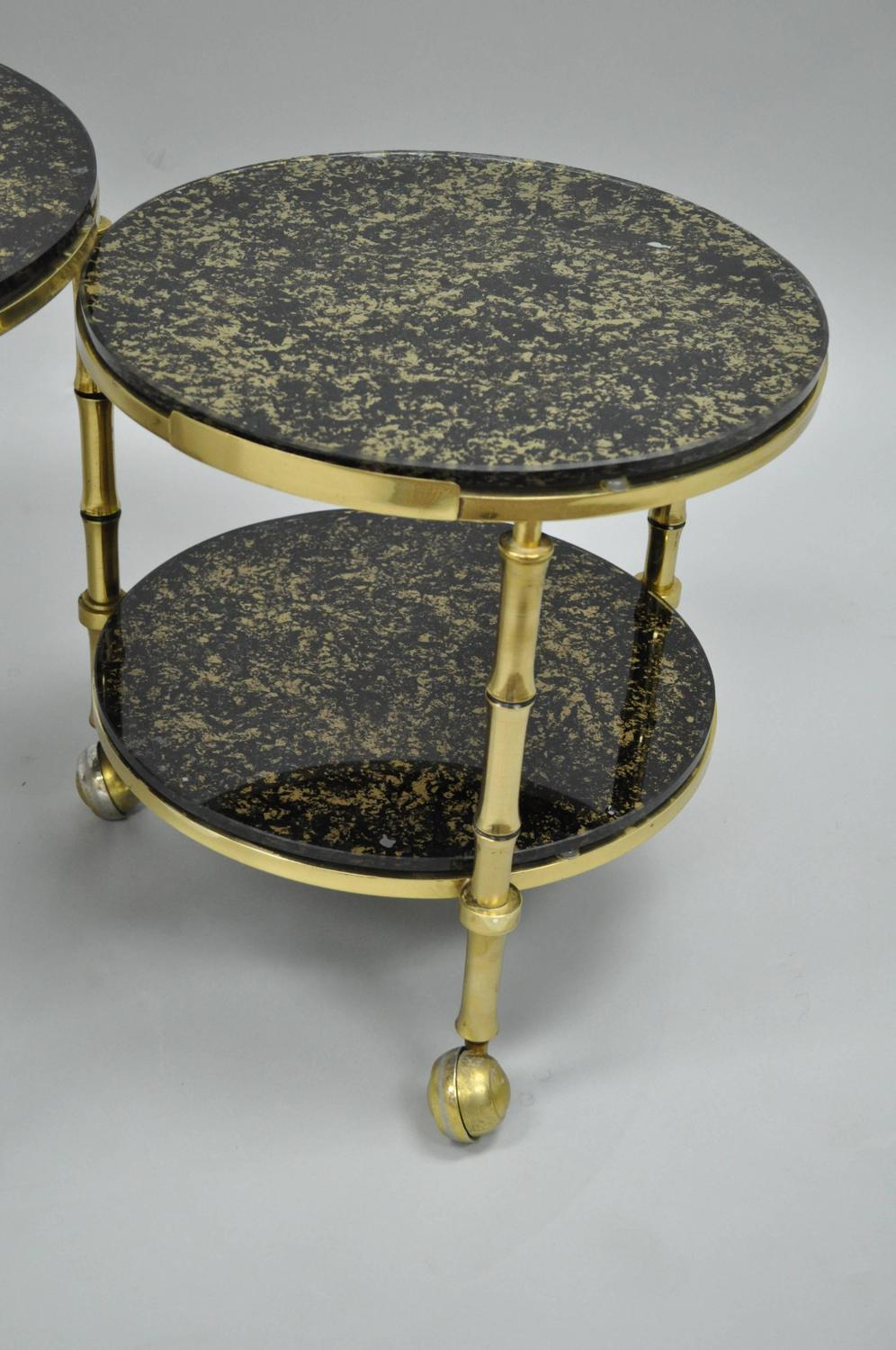 Nesting Cocktail Tables ~ Solid brass and gold flecks glass faux bamboo nesting