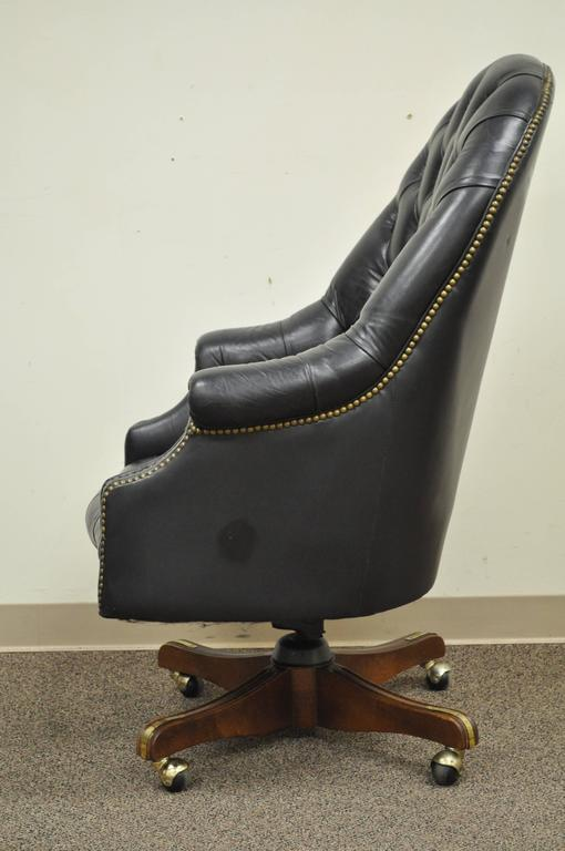 Vintage Deep Tufted Black Leather English Chesterfield Style Office Desk Chair For Sale 1