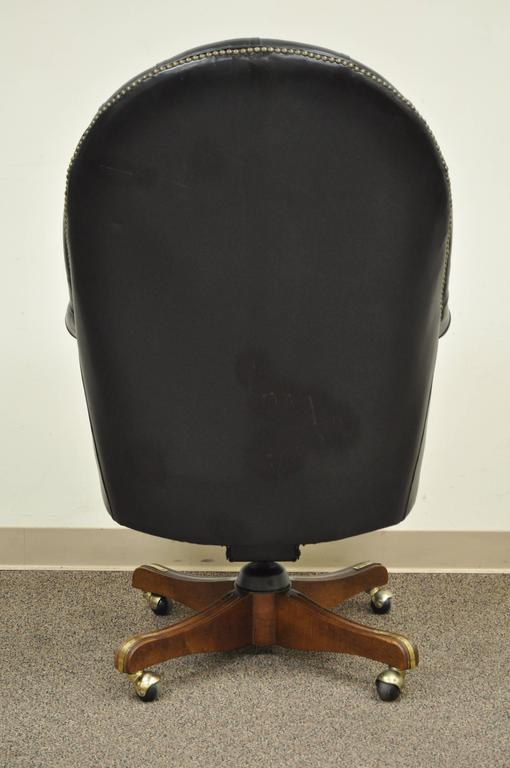 Vintage Deep Tufted Black Leather English Chesterfield Style Office Desk Chair For Sale 2