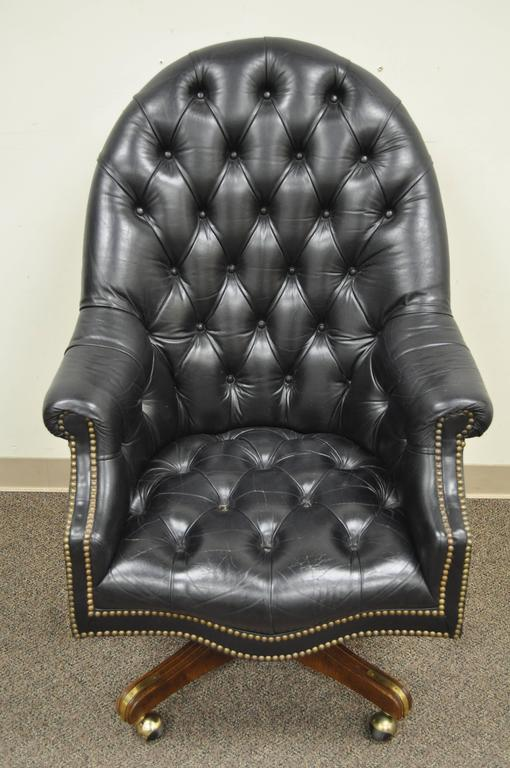 Vintage Deep Tufted Black Leather English Chesterfield Style Office Desk Chair For Sale 6