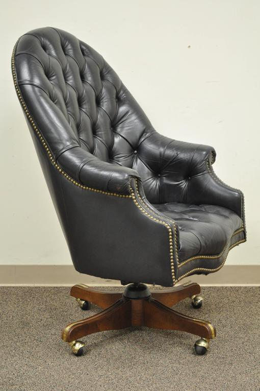 Vintage Deep Tufted Black Leather English Chesterfield Style Barrel Back Desk Chair Item Features Rolled