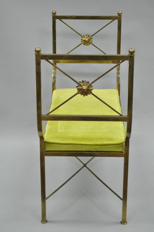 Italian Brass Hollywood Regency Neoclassical Style Bench after Mastercraft X-Form For Sale