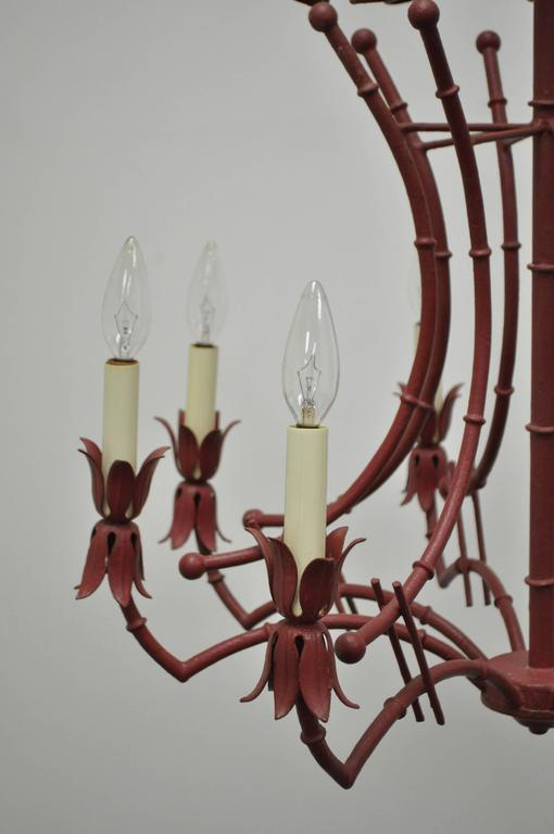 Iron Vintage Red Italian Faux Bamboo Chinese Chippendale Tole Metal Pagoda Chandelier For Sale