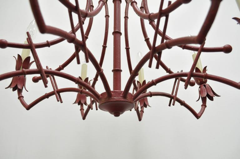 Mid-20th Century Vintage Red Italian Faux Bamboo Chinese Chippendale Tole Metal Pagoda Chandelier For Sale