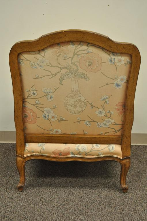French Provincial Louis XV Style Shell Carved Bergere Arm Chair and Ottoman For Sale 3