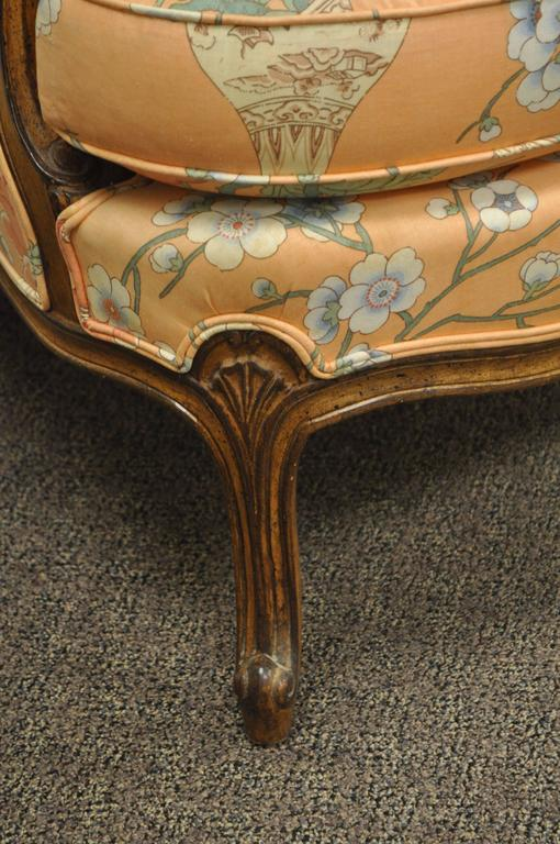 Walnut French Provincial Louis XV Style Shell Carved Bergere Arm Chair and Ottoman For Sale