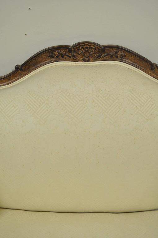 Vintage Wide Frame French Country Louis XV Style Floral Carved Bergere Armchair For Sale 1