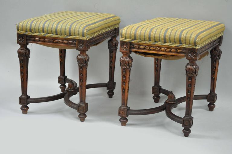 Mid-20th Century Pair of 1930s French Carved Walnut Louis XVI Style Victorian Stools Ottomans