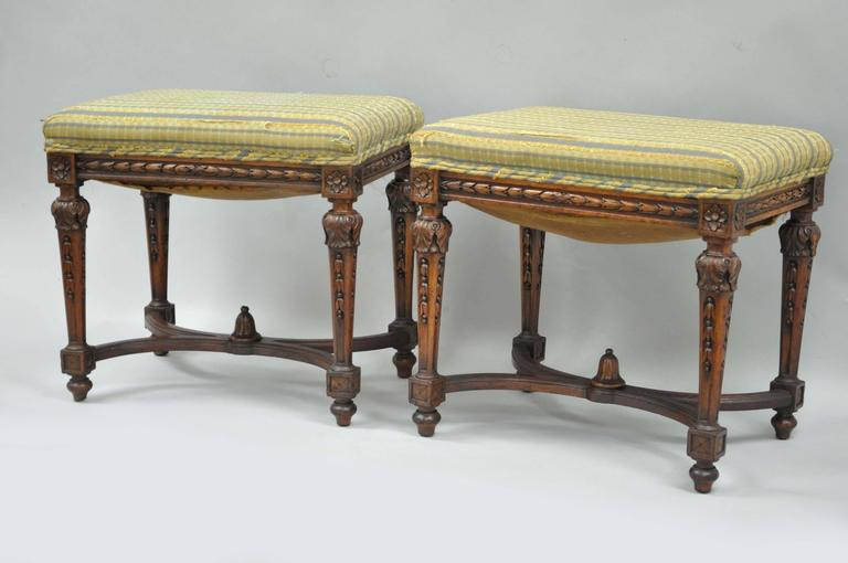 Pair of 1930s French Carved Walnut Louis XVI Style Victorian Stools Ottomans 1