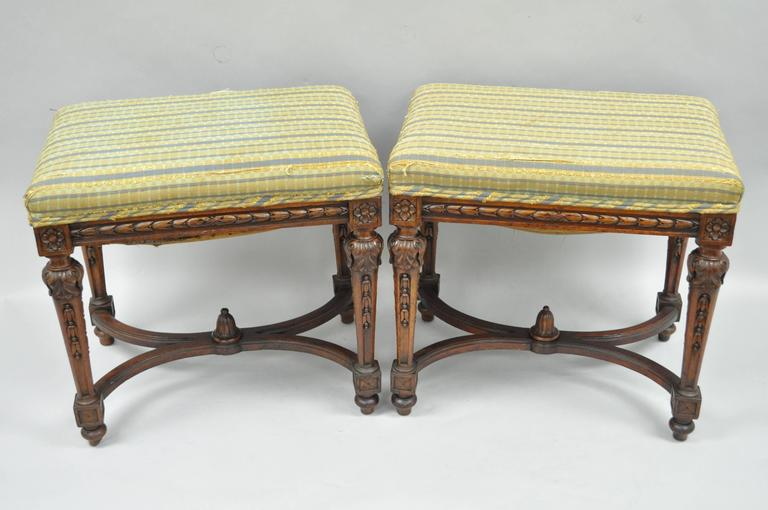 Pair of 1930s French Carved Walnut Louis XVI Style Victorian Stools Ottomans 2