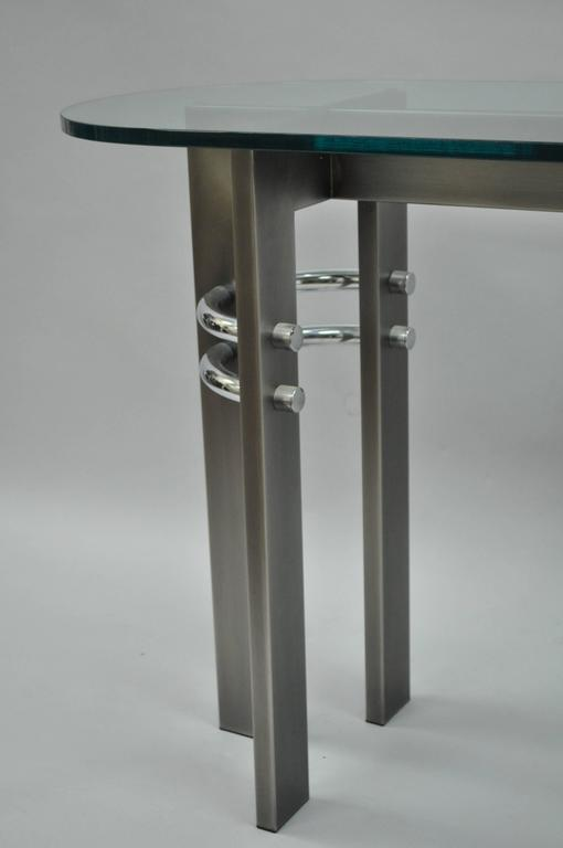 American Design Institute of America DIA Brushed Metal, Chrome and Glass Console Table For Sale