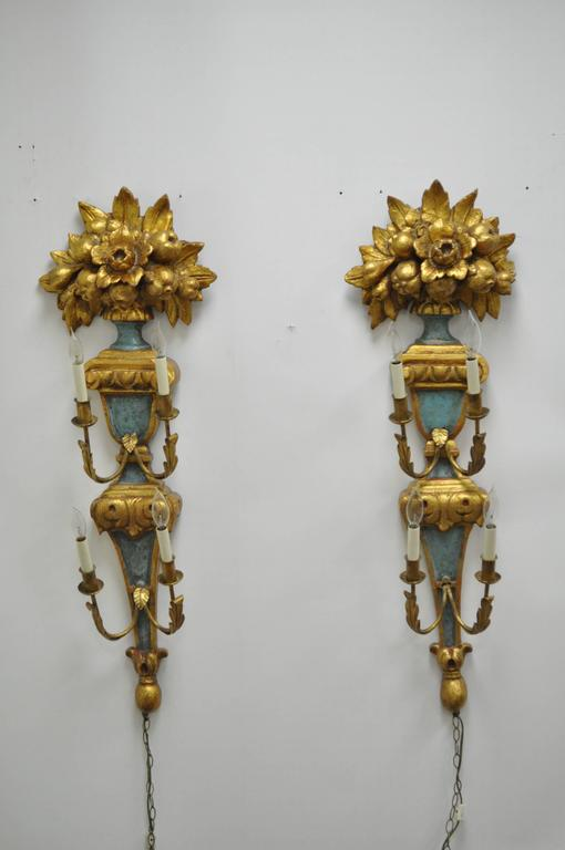 Pair 1950s Flower Carved Giltwood Italian Style Four Light Wall Sconces by Masa 3