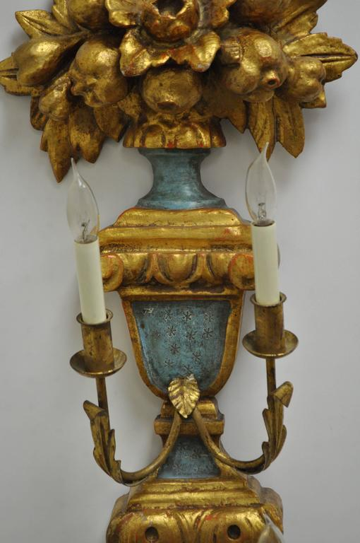 Spanish Pair 1950s Flower Carved Giltwood Italian Style Four Light Wall Sconces by Masa