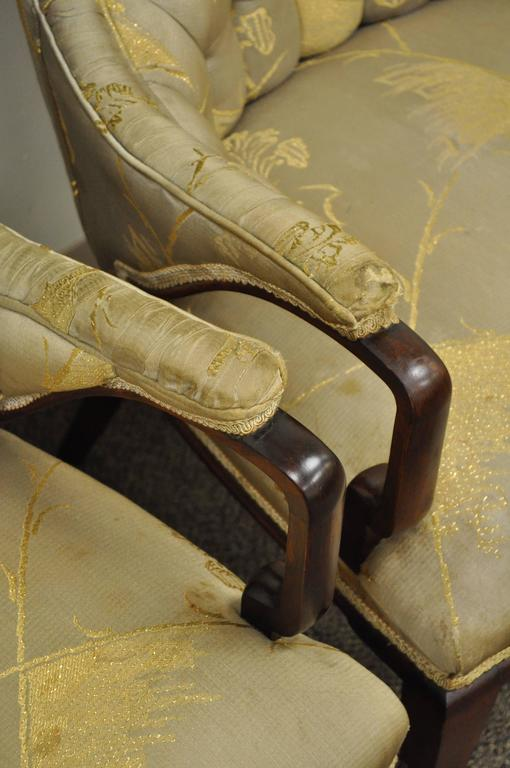 Mid-20th Century Pair Grosfeld House Hollywood Regency Mahogany Lounge Arm Chairs Dorothy Draper For Sale