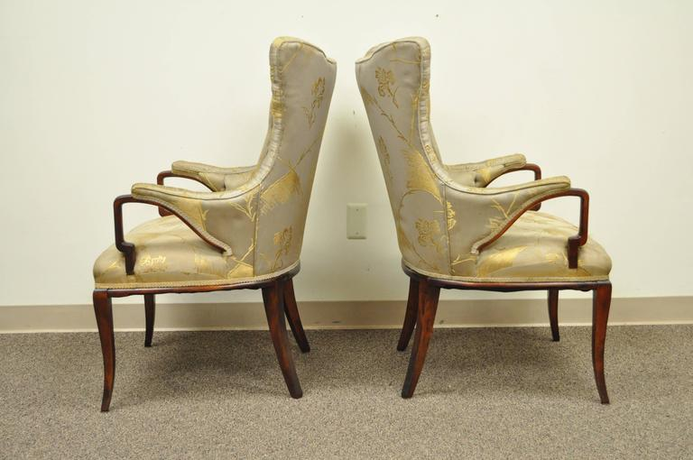 Chinese Chippendale Pair Grosfeld House Hollywood Regency Mahogany Lounge Arm Chairs Dorothy Draper For Sale