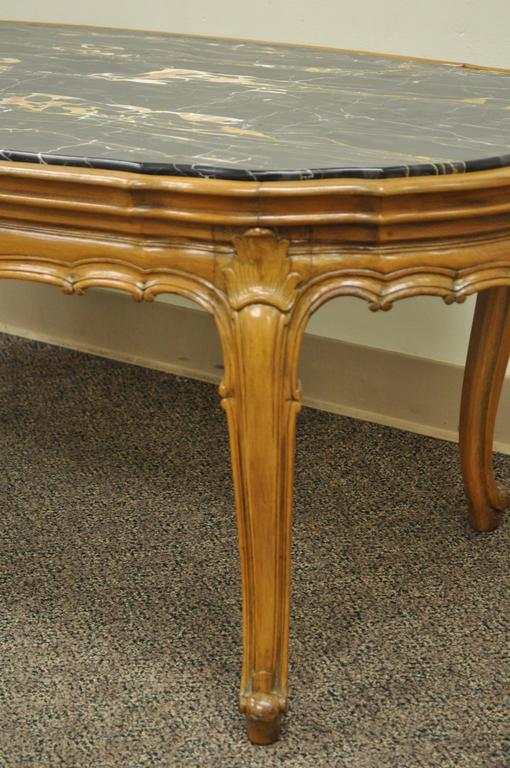 French Provincial Louis XV Country Style Oval Marble Top Walnut Coffee Table For Sale 3