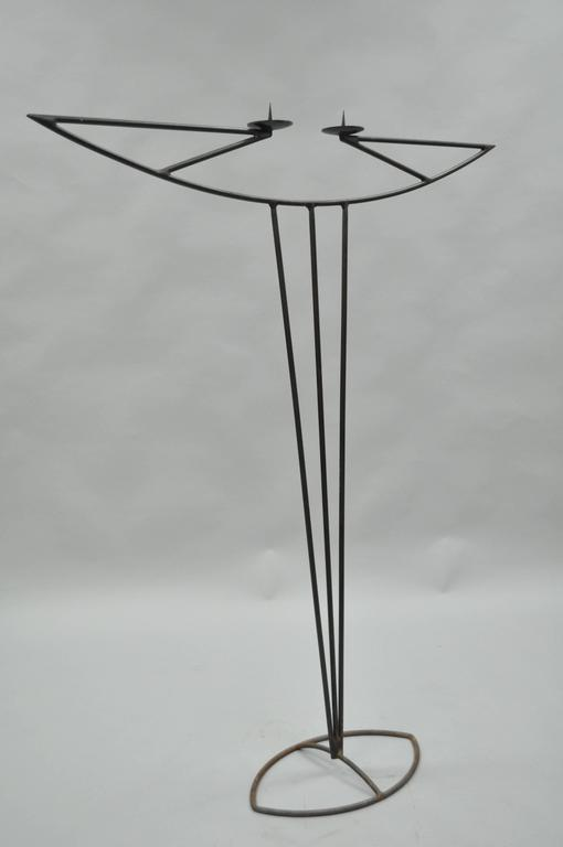 Tall Vintage Modernist Art Deco Style Wrought Iron Floor Candle Holder Stand For Sale 4