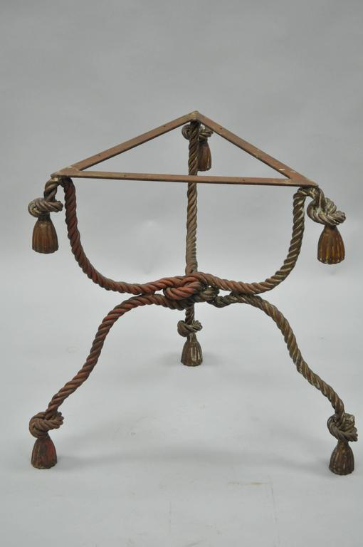 1940s Italian Marble-Top Rope Turned Round Tassel Form Iron Center Table 1