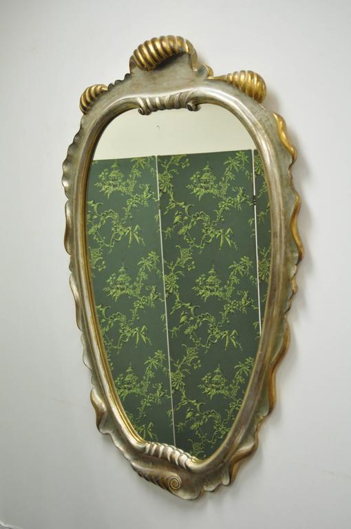 Italian Hollywood Regency Gold and Silver Giltwood Mirror after Dorothy Draper For Sale 6