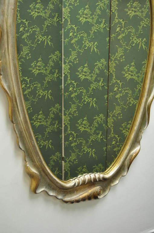 Italian Hollywood Regency Gold and Silver Giltwood Mirror after Dorothy Draper For Sale 5